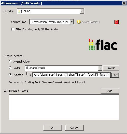 ZoneRipper FLAC encoder settings