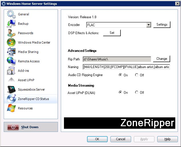ZoneRipper Settings